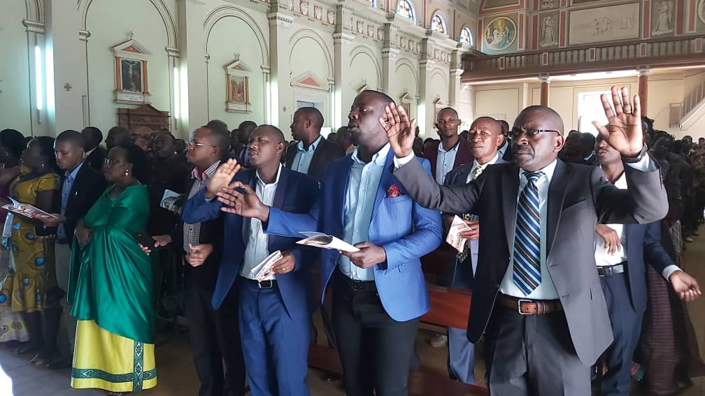 AMDA members in prayer at the high mass in St Joseph's Cathedral Gulu